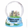 Portland, Oregon Snow Globe scene with skyline and mountains