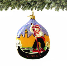 Venice Gondola Christmas Ornament, Hand Blown European Glass