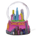 Colorful Chicago Skyline Snow Globe