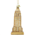 Golden Empire State Building Glass Ornaments