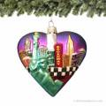 New York City Big Apple Glass Heart Ornament