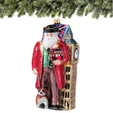Polonaise British Santa Glass Christmas Ornaments