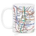 White NYC Subway Lines Mug, 11oz coffee mug