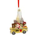 NYC Landmarks Taxi Glass Ornament