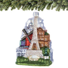 paris christmas ornament, glass with Eiffel Tower