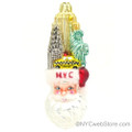 New York Landmark Santa Glass Ornament