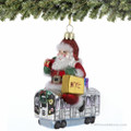 Santa's Subway Ride Glass Ornament