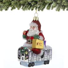Santa's Subway Ride Glass Ornament