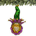 Mardi Gras Glass Christmas Ornament - Green Hat