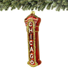 chicago christmas ornament, marquee glass