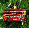 Double Decker Bus, London Ornament - Glass