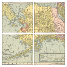 Alaska Map Coaster Set of 4