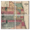 Chicago Antique Map Coaster Set of 4