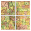 Colorado Map Coaster Set of 4
