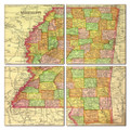 Mississippi Map Coaster Set of 4
