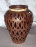 HMB-33 Shoulder Vase Brown with Filigree and Braid