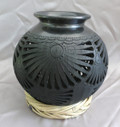 DR-1 Small Classic Black Clay Pot with Filigree and Hat