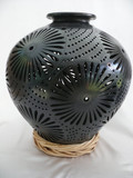 DR-9 Large Black Clay Filigree  Pot
