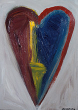 Mi corazon tiene muchos colores( My heart has many colors). Heart Painting  Acyrlic  on Wood, Framed in Steel