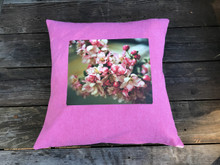 Pink Blossoms Hand Printed, Eco Dyed, Cotton Pillow