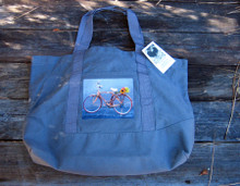 Bamboo Bike Cotton Canvas Beach/Market Tote