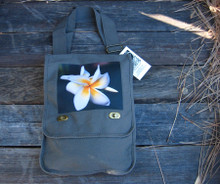Plumeria Cotton Canvas Field/Messenger Bag