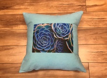 Hens & Chicks Succulents Handcrafted Eco Dyed Cotton Pillow
