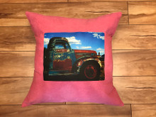 Truck in Taos Handcrafted Eco Dyed Cotton Pillow