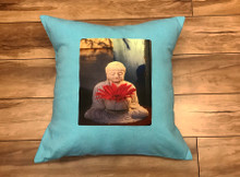 Buddha with Gerbera Daisy Handcrafted Eco Dyed Cotton Pillow