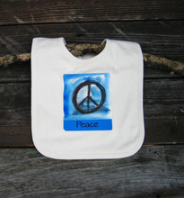 Peace sign Certified Organic Cotton Baby Bib
