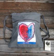 Cosmic interlude of LOVE Heart Boho Cinch Back Pack