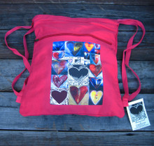 Love Amore Agape Heart Collage Boho Cinch Back Pack