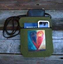 Night & Day Heart 2 zip hemp bag/purse