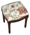 """WAVERLY MANOR"" FLORAL NEEDLEPOINT UPHOLSTERED STOOL - VANITY SEAT - CREAM -  WOOD STAIN FRAME"