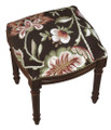 """WAVERLY MANOR"" FLORAL NEEDLEPOINT UPHOLSTERED STOOL - VANITY SEAT -  CHOCOLATE BROWN - WOOD STAIN FRAME"