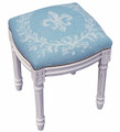 FLEUR DE LIS UPHOLSTERED STOOL - BLUE LINEN CUSHION - ANTIQUE WHITE FRAME