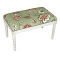 WAVERLY MANOR NEEDLEPOINT UPHOLSTERED BENCH - VANITY BENCH - GREEN FLORAL