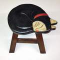 SLEEPING BLACK CAT FOOTSTOOL