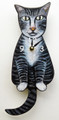 TABBY CAT WAGGING TAIL WALL CLOCK