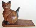 DOOR STOPPER - WOODEN CAT DOOR STOP - CAT DOORSTOP