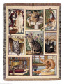 """CURIOUS CATS"" TAPESTRY THROW BLANKET - 47"" x 60"" - CAT THROW"