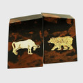 """WALL STREET"" BULL AND BEAR TIGER EYE MARBLE BOOKENDS - STOCK MARKET"