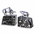 """WALL STREET"" BULL AND BEAR BOOKENDS - CHROME AND MARBLE - STOCK MARKET"