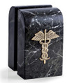 MEDICAL CADUCEUS MARBLE BOOKENDS