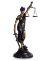 BLINDFOLDED LADY JUSTICE SCULPTURE ON MARBLE BASE - LEGAL AND LAWYER