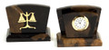 LEGAL SCALES OF JUSTICE MARBLE DESK CLOCK & LETTER RACK