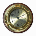 BRASS PORTHOLE WALL CLOCK ON SOLID WOOD BASE - NAUTICAL DECOR