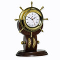 BRASS SHIPS WHEEL CLOCK WITH ROPE ON TEAK WOOD BASE - NAUTICAL DECOR