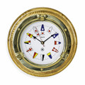 BRASS PORTHOLE WALL CLOCK WITH NAUTICAL FLAG DIAL FACE - OAK BASE