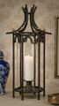 "PALACE GARDEN PAGODA HURRICANE LANTERN - BLACK FINISH - 31""H"